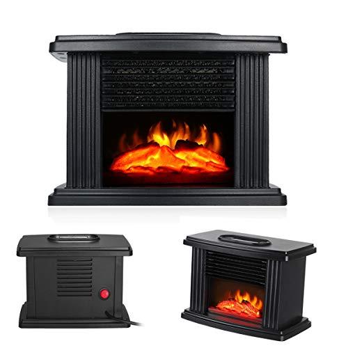Lychee Heizlüfter,Fernbedienung Tragbarer Heizung Desktop Heater, Einstellbarer Temperatur,LED Kaminfeuer Effekt Kaminofen Flammeneffekt Heizer 1000W für Bürotisch und den Heimgebrauch