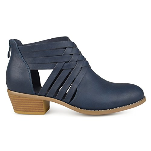 Brinley Co. Womens Criss Cross Stacked Wood Heel Faux Leather Booties Blue, 7 Regular US