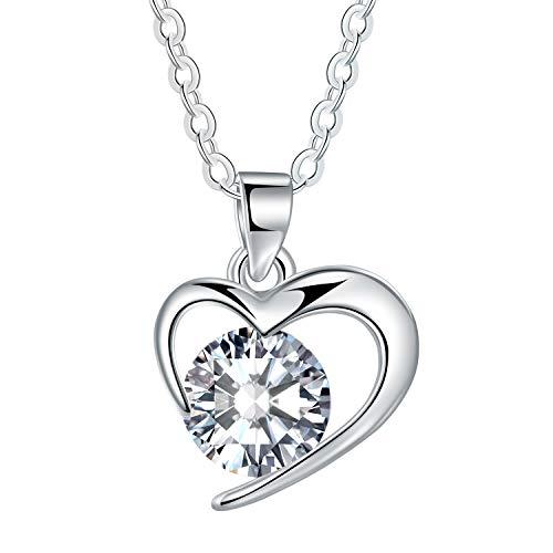 MICORY Herz Kette Silber 925, Damen Halskette Anhänger ''Liebe ist das Glück'' Schmuck Zirkonia 40+5CM Kettenlänge Geschenk