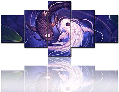Beoutifulso Arte De Pared Para Sala De Estar Imágenes De Pescado Blanco Y Púrpura Pinturas De Cabeza De Tai Chi Panel Múltiple Impreso En Lienzo Obra Abstracta Decoración Mode - 5 Piezas Impresión Ar