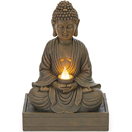 VP Home Glowing Serenity Meditative Buddha Solar Powered LED Outdoor Decor Garden Light