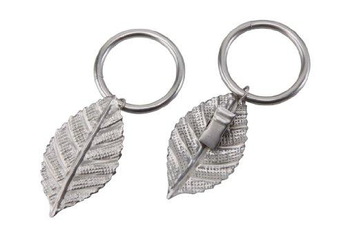 Gardinenring/Ring mit Dekoklammer Blatt, matt-Chrom, Set 10 Stück