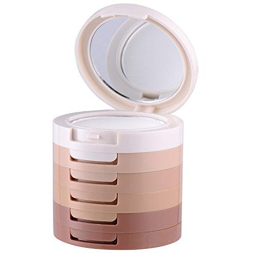 Kit de maquillaje de 5 colores, contorneador e iluminador, polvos compactos