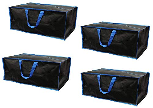 Earthwise Reusable Storage Bags Totes Extra Large Container Backpack Handles w/Zipper closure in Matte Black Great for Moving, Compatible with Ikea Frakta Carts (Set of 4) (Blue)