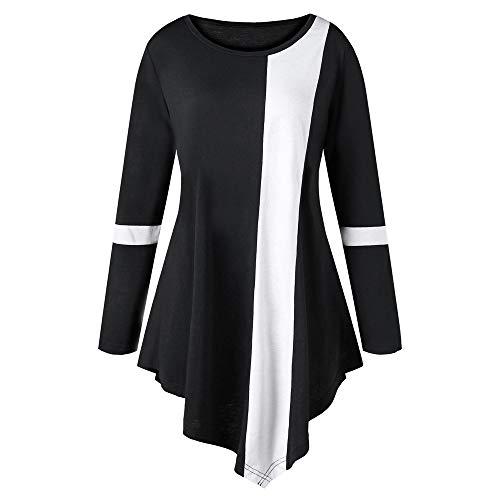 VEMOW Herbst Elegante Damen Blusen Mode Frauen Casual Plus Größe Langarm Zwei Ton Farbe O-Ausschnitt Lässige tägliche Freizeit lose asymmetrische Oberteile(Schwarz, 44 DE / 2XL CN