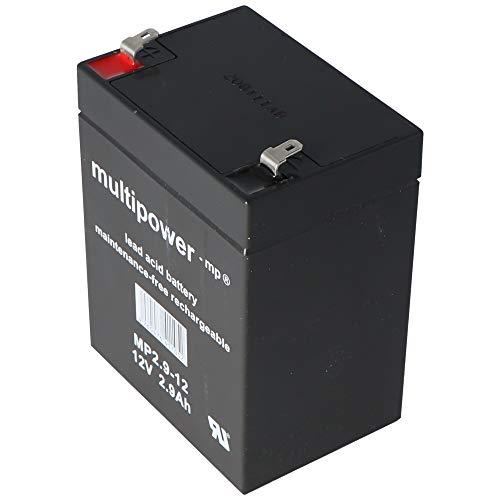 MultiPower MP2.9-12 MP2.9-12 - Batería de plomo (12 V, 2,9 Ah, Pb Faston, 4,8 mm, sin autorización VdS) 🔥