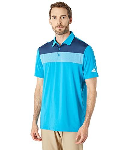 adidas Golf Men's Standard Color Block Recycled Polyester Polo Shirt, Sonic Aqua, M