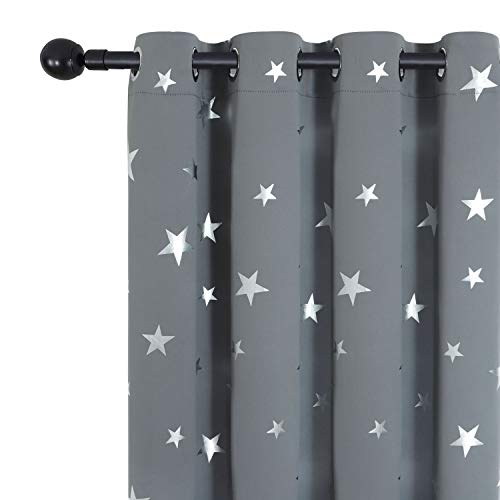 Estelar Textiler Kids Room Blackout Curtains Star Curtain Grommet Thermal Insulated Window Curtains for Baby Boys Girls Nursery Room 52W x 63L Inch Light Grey Set of 2