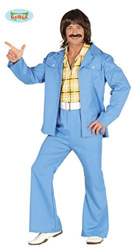 70er Jahre Outfit Groovy Dancer Disco Kostüm für Herren Tänzer Jeansanzug Anzug Gr. M/L, Größe:M