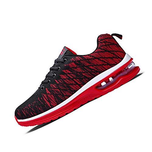 [WLK] [Amazon限定ブランド] ランニングシューズ スニーカー エアクッション ウォーキングシューズ ジョギング クッション 運動靴 防滑 軽量 通気 レッド 25.5cm