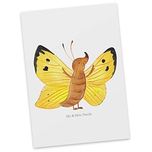 Mr. & Mrs. Panda gratulationskort, kort, vykort fjäril citronfald – färg vit