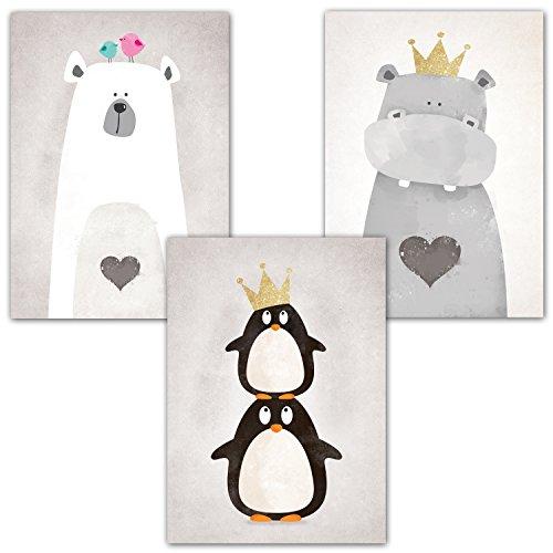 Frechdax® Kinderzimmer Poster Set 3 Stück - Kinderzimmer Deko - DIN A4 - Kinderposter Kunstdruck im skandinavischen Stil | schwarz/weiss oder bunt | Set-12
