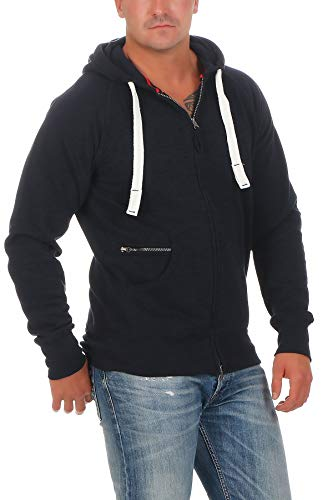 Happy Clothing Herren Kapuzenjacke mit Zip, Dunkelblau, L