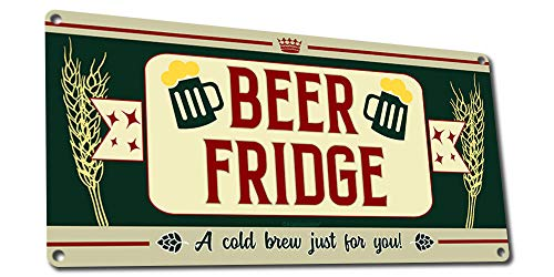 Beer Fridge, a Cold Brew Just for You, Funny Beer Quote Sign, 6 x 12 Inch Metal Sign, Man Cave, Garage, Brewery, Pub, Sports Bar Decor & Gifts for Beer Lovers, Dads, Boyfriends RK3162 6x12