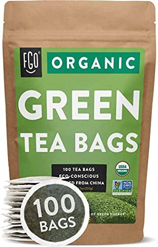 Organic Green Tea Bags | 100 Tea Bags | Eco-Conscious Tea Bags in Kraft Bag | by FGO