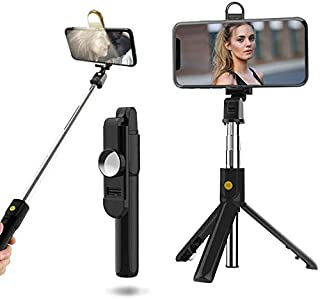 DEAMOS Selfie Stick with Rechargeable Light, Extendable Bluetooth Selfie Stick Tripod with Detachable Wireless Remote and ...