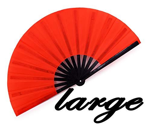meifan Large Rave Folding Hand Fan for Women Men, Chinese Japanese Bamboo Fan Hand Fan for Festival, Dance, Gift, Performance, Decorations (Red)