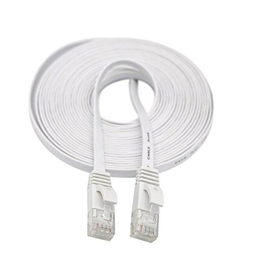Skryo_ Electronics & Gadgets Skryo🛩🛩 2M RJ45 CAT6 Ethernet Netzwerk LAN Kabel, Flacher UTP Patch Router Interessantes Lot (Weiß)