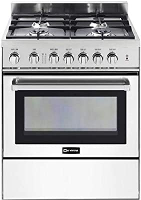 """Verona VEFSGG304NW 30"""" Freestanding All Gas Range 4 Sealed Burners Convection Oven Storage Drawer White"""