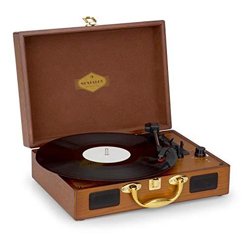 Auna Peggy Sue Gold Edition - Tocadiscos, Reproduce 3 tamaños de Vinilo, Altavoces Integrados, Equipo estéreo LPs, Puerto USB, Digitalizador, Salida de línea RCA, Maletín Look Retro, Dorado/marrón