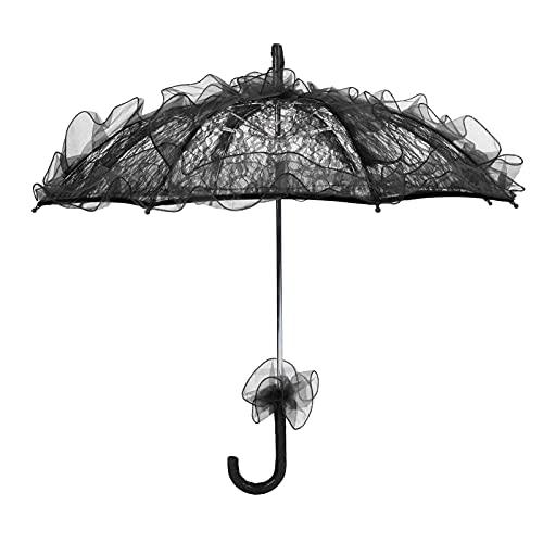 HERCHR Sombrilla de Encaje - Mini Paraguas Plegable para Novia Sombrilla Floral de Encaje Accesorios de Boda Ideal para Damas de Honor y niñas de Flores - Accesorio para Fotos Azul(Negro)