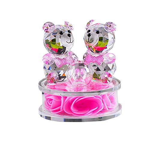 AMITD Rose Bloem Crystal Glass Dieren beer figuren Ornamenten Kerstmis Home Auto Decoration Parfum Fles Feng Shui begrip geschenk (roze)