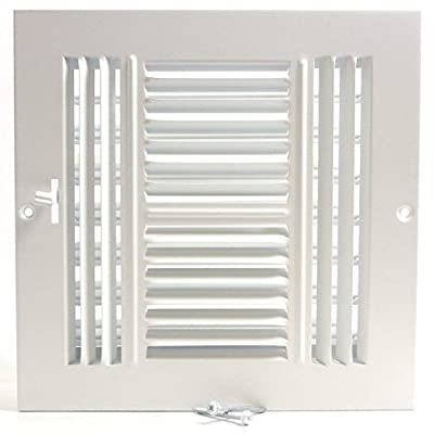 """8""""w X 8""""h 4-Way AIR Supply Grille - Vent Cover & Diffuser - Flat Stamped Face - White [Outer Dimensions: 9.75""""w X 9.75""""h]"""