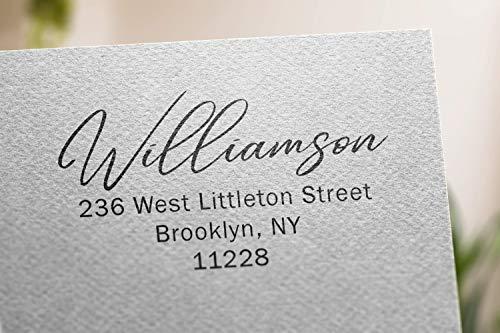 Elegant Address Stamp Custom Self-Inking Return Address Mail 4 Lines Custom Address Stamper Elegant Wedding Personalized Gift. Perfect Size for Mail Envelopes. Black Red Blue Purple Ink Address Stamp