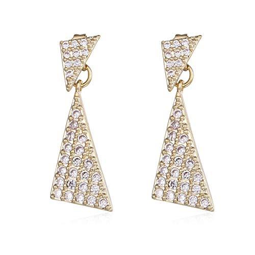 N-B Aguja de Plata Super Flash Full Diamond Personalidad Pendientes Triangulares Simples Pendientes Rojos de Dos Bandas Pendientes Femeninos de Viento frío