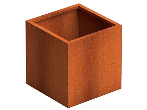 SENZZO Jardinera de acero Corten 47x47x50 cm Maceta Cortensteel