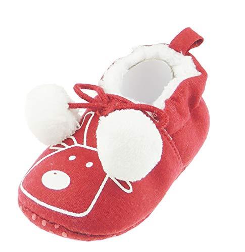 Entzückende festliche rote Rentier Rudolph Baby Mädchen Jungen Weihnachten Pram Padders Booties Schuhe Bobble Pom (0-3 Monate)
