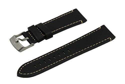 SWISS REIMAGINED hypoallergenes Uhrenarmband Kalbsleder Titan-Schließe - 17mm Schwarz