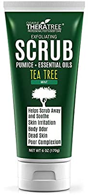 Tea Tree Oil Exfoliating Scrub with Bamboo Charcoal, Neem Oil & Natural Pumice by Oleavine TheraTree from Oleavine