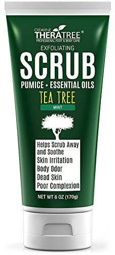 Tea Tree Oil Exfoliating Scrub with Bamboo Charcoal, Neem Oil & Natural Pumice by Oleavine TheraTree