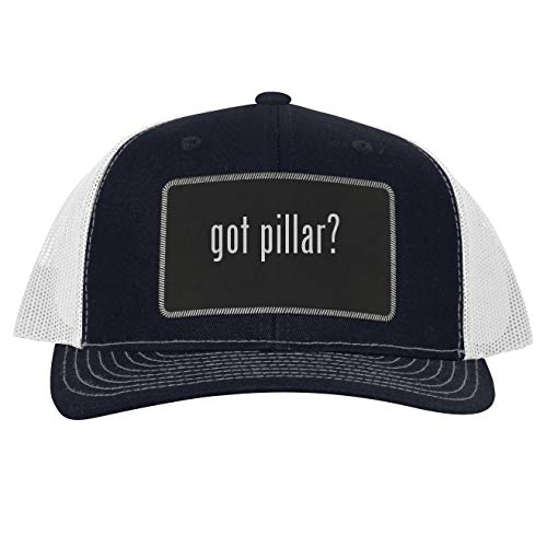 got Pillar? - Leather Black Patch Engraved Trucker Hat, Navy-White, One Size