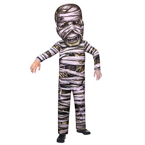 amscan 9907136 – Costume da mummia per bambini, tuta con cappuccio con maschera integrata, costume spaventoso, film horror, feste a tema, carnevale, Halloween