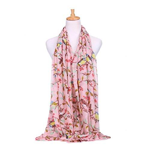 XKJFZ Eleganter Vogel auf der Zweig-Muster-Haut-freundliches Langen Schal stilvolle Frauen Tippet-Winter-Ansatz-Wärmer-Geschenk für Mutter Freundinnen-Rosa-Winter-Warmer Supplies