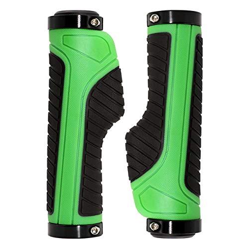 YFCTLM Apretones de la Bici Apretones de Bicicletas MTB Acoples Manillar Puños de Goma de Aluminio Anillo de Bloqueo ergonómico Manillar Montaña Ciclismo Accesorios (Color : Green)