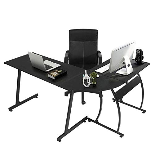 GreenForest L-Shaped Corner Desk 58.1'',Computer Gaming Desk PC Table,Home Office Writing Workstation 3-Piece,Black