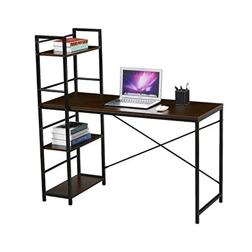 SVITA Combo2 Computertisch Nussbaum-Optik Schwarze Metall-Beine mit Regal Schreibtisch Bürotisch Arbeitstisch PC Tisch