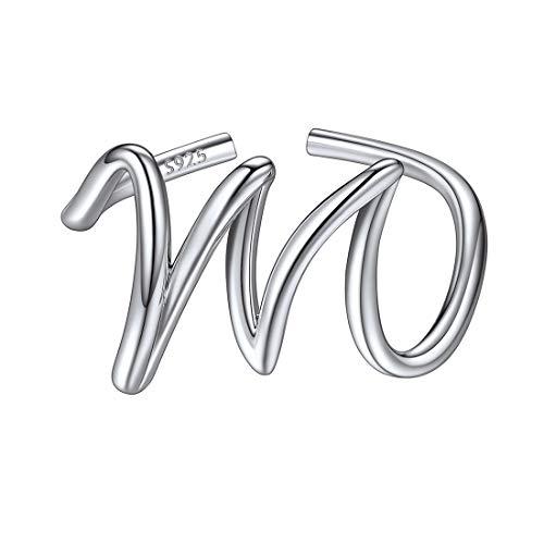 ChicSilver Plata de Ley 925 Anillos Ajustables Muchachas con Letras Iniciales Alfabeto M Joyerías Elegantes para Hijas Regalo Graduación