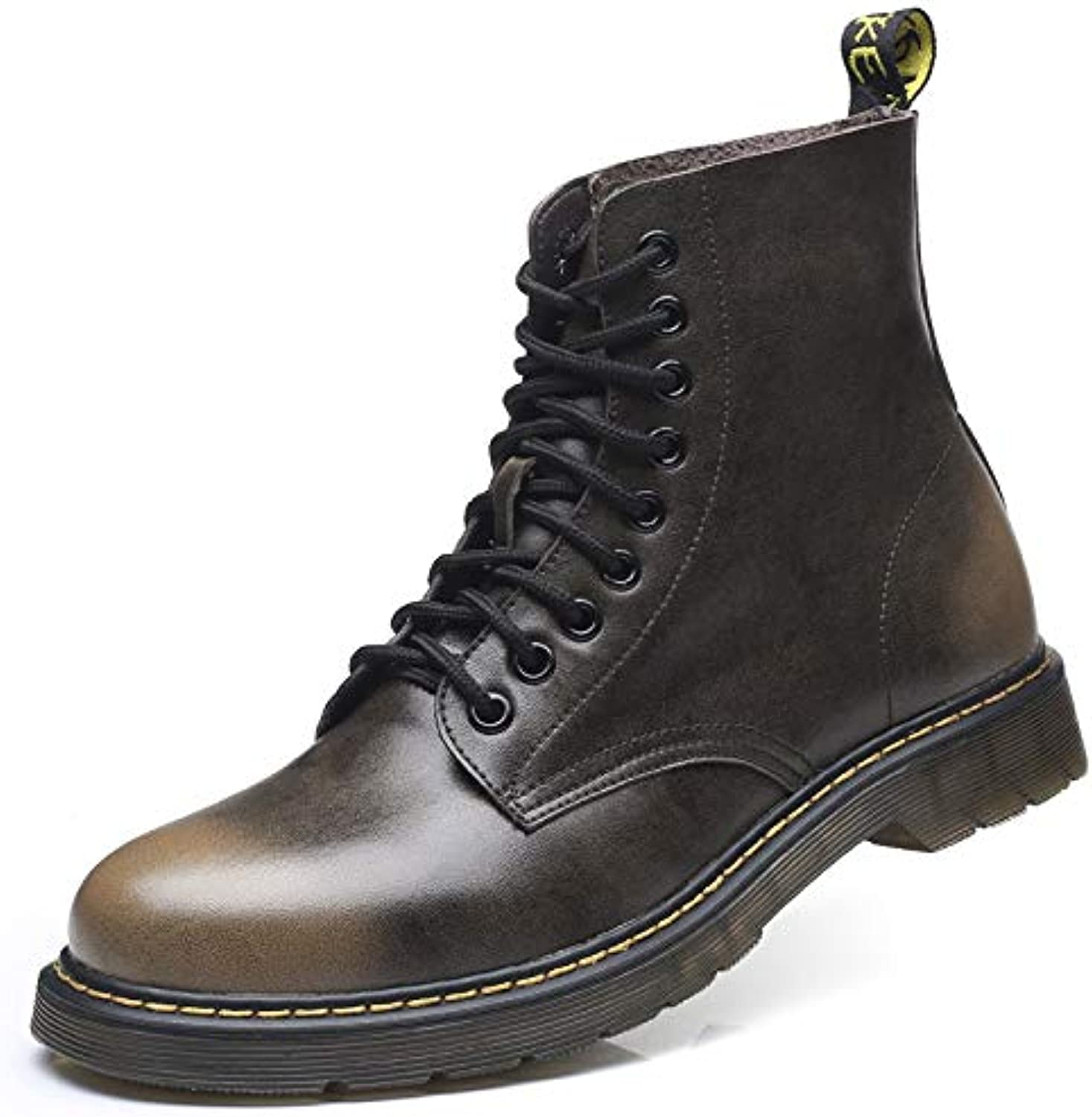 LOVDRAM Boots Men's Autumn Martin Boots Pu Retro Help Tooling Boots High To Help Men'S Boots Extra Large Men'S shoes