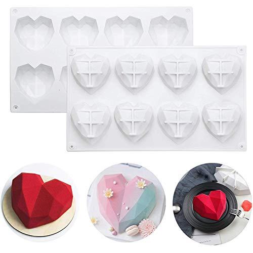 Emfure - Moldes de silicona con forma de corazón de diamante para bombas, chocolate y cacao, para decoración de tartas del día de la madre, antiadherentes y sin BPA
