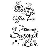2pcs Pegatinas Vinilos Pared Cocina Decorativas con Frases Letras en Inglés Stickers Adhesivos Comedor Cafetería Restaurante Habitación Coffee time This Kitchen.