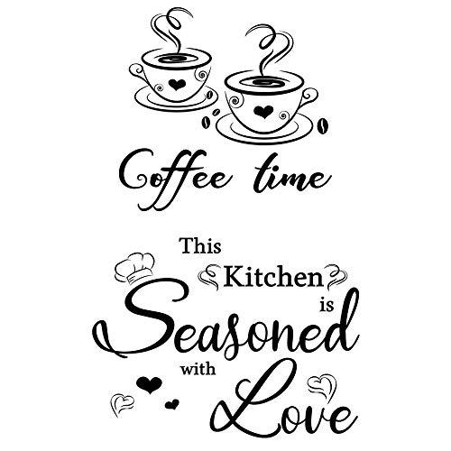 2 pcs Wandaufkleber Küche Kaffee Kaffetasse Bohnen und This Kitchen Spruch selbstklebend Küche Aufkleber Wandaufkleber Wandsticker Esszimmer