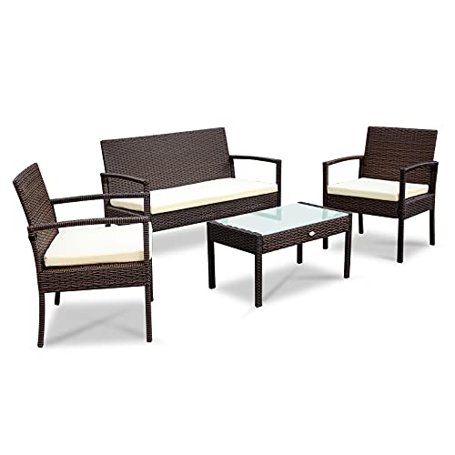 PAOLFOX 4 Pieces Patio Rattan Furniture Set,Outdoor Conversation Set w/Weather Resistant Cushions Tempered Glass Tabletop for Garden, Lawn Pool, Backyard, Poolside (Beige)