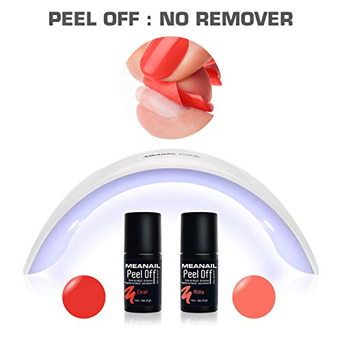Lampara LED UV Secador de Uñas Esmalte Semipermanente Pintauñas Kit Manicura y Pedicura Edition Peel OFF Color ALOHA y CORAL No necesita REMOVER