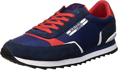 Trussardi Jeans Running Action Label, Sneaker Uomo, Multicolore (Blue/White Lardini 700 U608), 43 EU