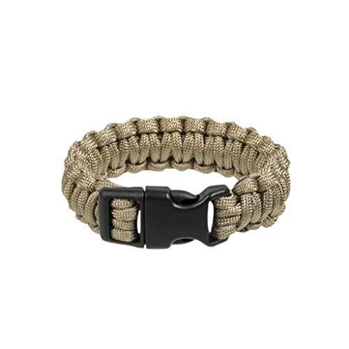 YDS Mil-Tec - Pulsera de supervivencia para hombre, pulsera de paracord militar, para senderismo, camping, aventura (beige, L)
