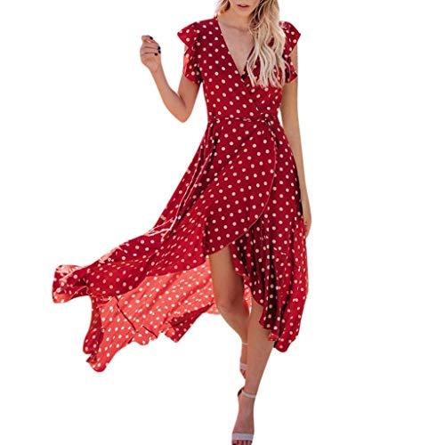 Lialbert Gepunktetes Dame Wickelkleid Strandkleid Figurbetonts V-Ausschnitt Punktmuster FlüGeläRmeln Elegant Ballkleid Overlay Asymmetrischem Saum Swing-Kleid Rot